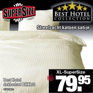 Katoen Satijn Dekbedovertrek SuperSize Crème Streep