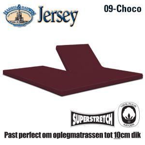 Jersey Split Topperhoeslaken Choco 160x210/220cm